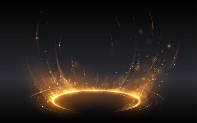 Fototapeta Abstract golden light circle effect