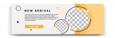 Fototapeta Abstract gradient modern geometric banner template design in yellow, orange, white color. Suitable for advertising and promotion in social media post, blog, web, cover, header. Vector Illustration.