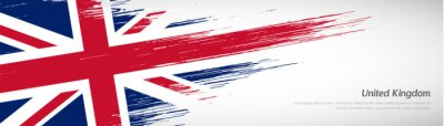 Fototapeta Abstract happy national day of United Kingdom with creative watercolor national brush flag background