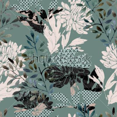 Fototapeta Abstract kwiatowy wzór. Akwarela kwiaty, liście wypełnione minimalnymi doodle tekstury. Naturalne tło. Ręcznie malowane jesień ilustracja do tkanin, włókienniczych, zawijanie projekt