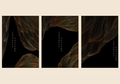 Fototapeta Abstract landscape background Japanese wave pattern vector. Gold line elements in Chinese style. Mountain forest template illustration.