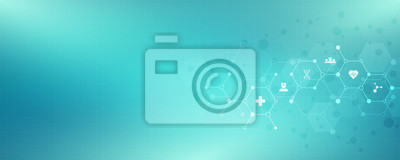 Fototapeta Abstract medical background with flat icons and symbols. Template design with concept and idea for healthcare technology, innovation medicine, health, science and research.