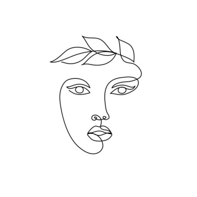 Fototapeta Abstract minimal line drawing beauty woman face with leaves