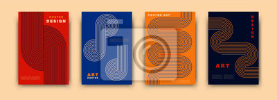 Fototapeta Abstract modernism graphic poster design. Vintage colorful vector covers set swiss memphis style. Retro geometric art compositions for journal, books, posters, flyers, magazines