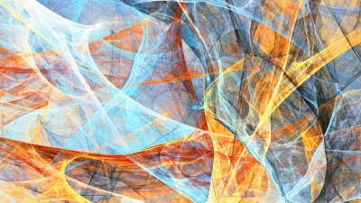 Abstract painting blue and yellow color texture. Bright artistic background. Fine pattern. Fractal artwork for creative graphic design