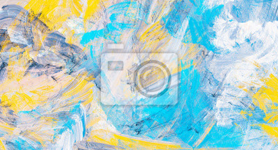 Abstract painting blue and yellow color texture. Modern fine pattern. Dynamic bright background. Fractal artwork for creative graphic design