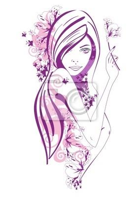 Abstract piękne dziewczyny z fioletowych kwiatów i motyli