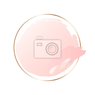 Fototapeta Abstract pink brush background with round geometric frame rose gold color. Logo background for beauty and fashion