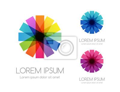 Fototapeta Abstract rainbow color logo. Colorful vector emblem.
