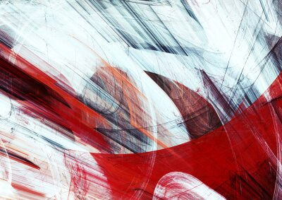 Abstract red and white grunge motion composition. Modern bright futuristic dynamic background. Fractal art for creative graphic design
