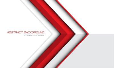 Fototapeta Abstract red arrow direction on white grey design modern futuristic background vector illustration.