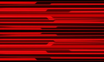 Fototapeta Abstract red black metallic shadow black line cyber geometric pattern with blank space design modern futuristic technology background vector illustration.