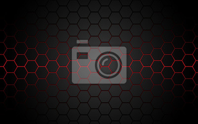 Fototapeta Abstract red light hexagon line in grey modern luxury futuristic background vector illustration.