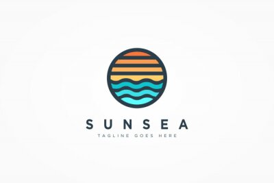 Fototapeta Abstract Seascape Logo. Vintage Circular Sun and Sea Wave Combination isolated on White Background. Flat Vector Logo Design Template Element.