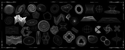Fototapeta Abstract shapes collection is a trending mixture modern diverse design elements,  geometric shapes. Cyberpunk retro futurism set, vaporwave. Memphis design elements for web, advertisement,posters