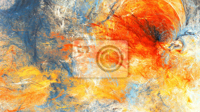 Abstract sky with shiny color clouds. Bright artistic splashes. Beautiful futuristic painting background. Fine pattern for interior, cover album, booklet. Fractal artwork for creative graphic design