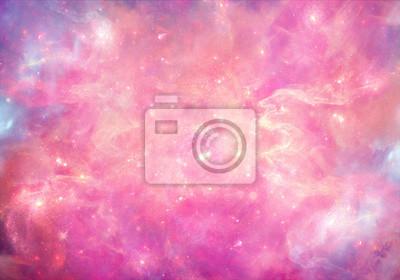 Fototapeta Abstract smooth unique pink nebula galaxy artwork background