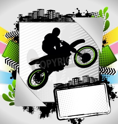 Fototapeta Abstract summer frame with motorcyclist silhouette