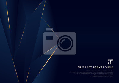Fototapeta Abstract template dark blue luxury premium background with luxury triangles pattern and gold lighting lines.