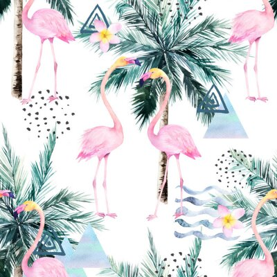 Fototapeta Abstract tropical pattern with flamingo and palm tree. Watercolor seamless print. Minimalism watercolour illustration