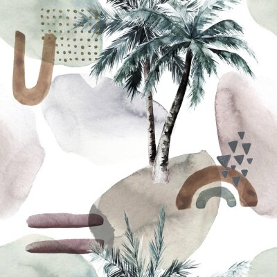 Fototapeta Abstract tropical pattern with  palm trees. Watercolor seamless print. Jungle summer  background