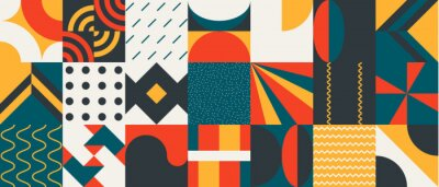 Fototapeta Abstract Vector Pattern Graphics With Simple Geometric Shapes