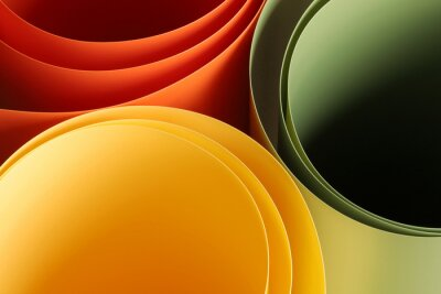 Fototapeta abstract vibrant color curve background, creative graphic wallpaper with orange, yellow and green for presentation, concept of dynamic movement and space, detail of bending plastic sheets