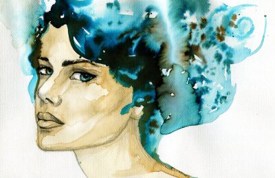 Fototapeta abstract watercolor illustration depicting a portrait of a woman