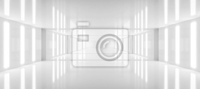 Fototapeta abstract white background architecture glossy room 3d render illustration