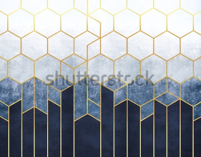 Fototapeta Abstrakcja geometryczna sześciokątów na niebieskim tle relief z elementami złota. Fresk do drukowania wnętrz, Tapety.