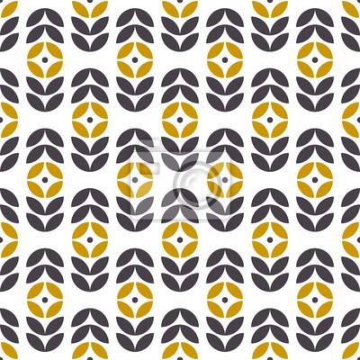 Abstrakcjonistyczny bezszwowy geometryczny wzór w skandynawskim stylu. Motyw kwiatowy w stylu retro. Tapeta wektor