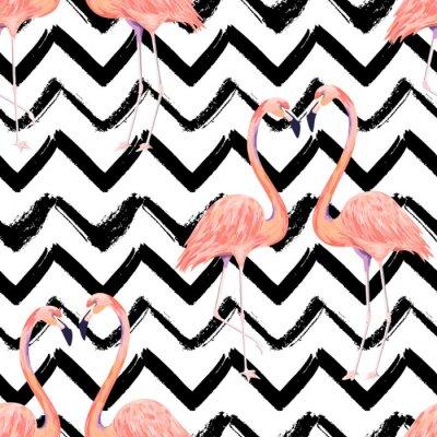 Fototapeta Abstrakcjonistyczny bezszwowy wzór z egzotycznym flamingiem na pasiastym szewronu tle. Letni wydruk dekoracji. Ilustracji wektorowych