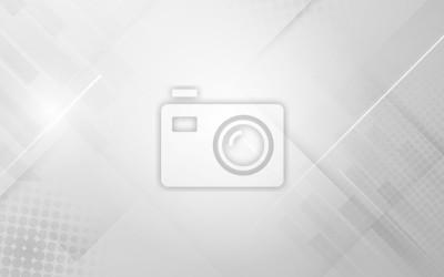 Fototapeta Abstrakcjonistyczny biały i szary nowożytny geometryczny kształt z futurystycznym pojęcia tłem