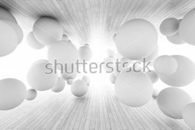 Fototapeta Abstrakcjonistyczny geometryczny tło z piłkami w tunelu deski. Ilustracja 3D.