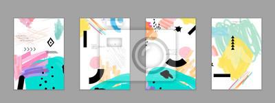 Fototapeta Abstrakcjonistyczny kolaż robić z bazgrołów markercanyon strokesblack geometrycznymi kształtami