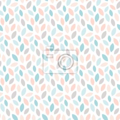 Abstrakcjonistyczny kwiecisty bezszwowy wzór z liśćmi. Geometryczny nadruk w skandynawskim stylu w pastelowych kolorach. Tapeta wektor