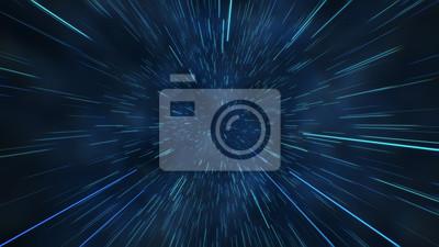 Fototapeta Abstrakcjonistyczny lot w astronautycznej hyperskap 3d ilustraci