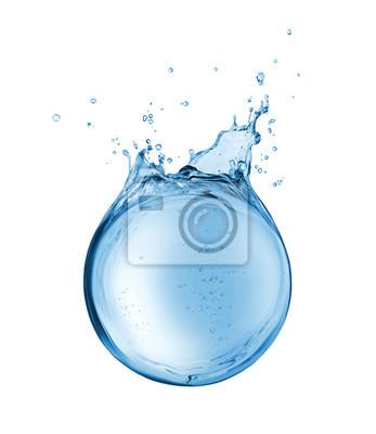 Fototapeta Abstrakcjonistyczny rezerwuar woda w postaci sfery, odizolowywającej na białym tle