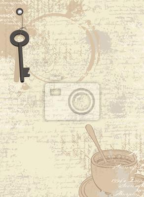 Abstrakcyjna kawa tła z teksturą rękopis i plamy z filiżanek, tekst i rysunki filiżanki i klucza
