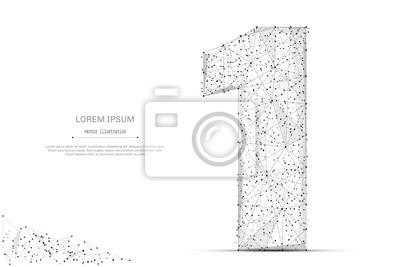 Fototapeta Abstrakcyjna linii mash i punkt numer jeden na białym tle z napisem. Gwiaździste niebo lub przestrzeń, składające się z gwiazd i wszechświata. Wektor cyfry 1 ilustracji