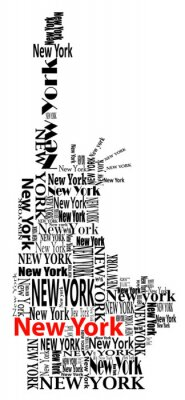 Fototapeta abstrakcyjna Statua Wolności z wyrazy Nowy Jork