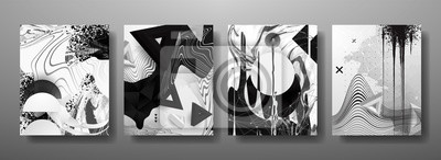 Fototapeta Abstrakcyjne płynne, linie i kształty kreatywne szablony, karty, zestaw kolorowych okładek. Geometryczny wzór, płyny, kształty. Modna kolekcja wektor.
