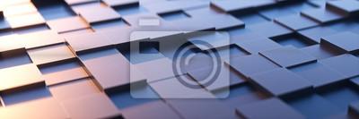 Fototapeta Abstrakcyjne tło kwadratowe z metalowym poczuciem technologii.3d renderowania.