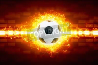 Fototapeta Abstrakcyjne tło piłkarski - nagrywanie piłki nożnej, Piłka w ogniu