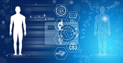 Fototapeta abstrakcyjne tło technologia koncepcja w niebieskim świetle, mózgu i ludzkiego ciała leczyć, technologia nowoczesna medycyna w przyszłości i globalny międzynarodowy medyczny z testami analizy klon DNA