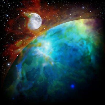Fototapeta abstrakcyjne tło z miejsca na Ziemi i Księżyca