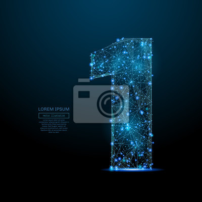 Fototapeta Abstrakcyjny obraz numer jeden w formie gwiaździstego nieba lub przestrzeni, składający się z punktów, linii i kształtów w postaci planet, gwiazd i wszechświata. Koncepcja 1 cyfrowo-szkieletu wektorow