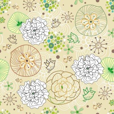 Fototapeta Abstrakcyjny wzór kwiatów z ptakami