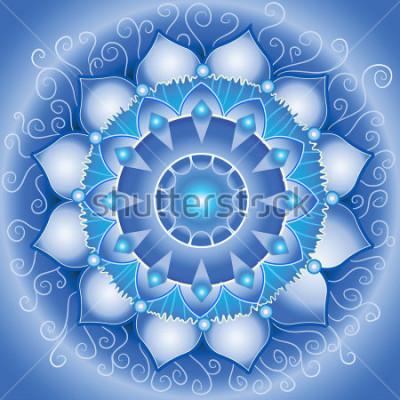 Fototapeta abstrakcyjny wzór niebieski, mandala vector czakry vishuddha