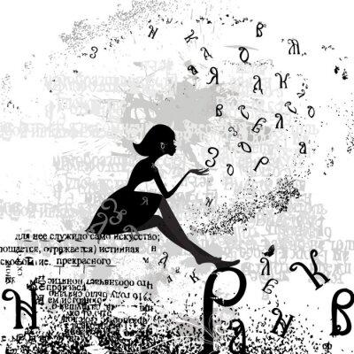 Fototapeta abstrakcyjny wzór z tekstem dziewczyny grunge